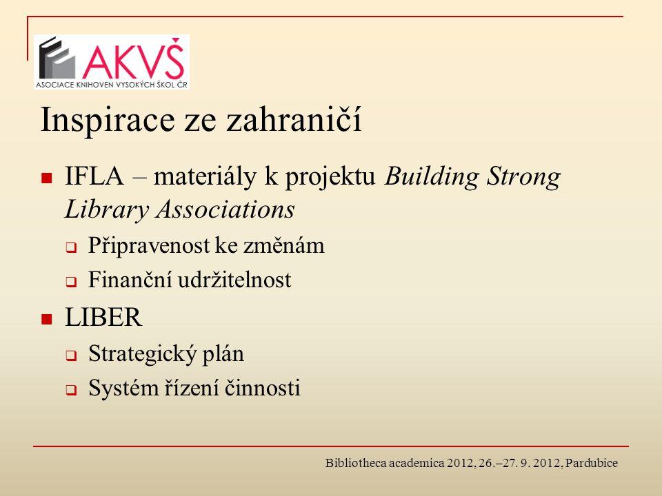 Inspirace ze zahraničí IFLA – materiály k projektu Building Strong Library Associations  Připravenost ke změnám  Finanční udržitelnost LIBER  Strategický plán  Systém řízení činnosti
