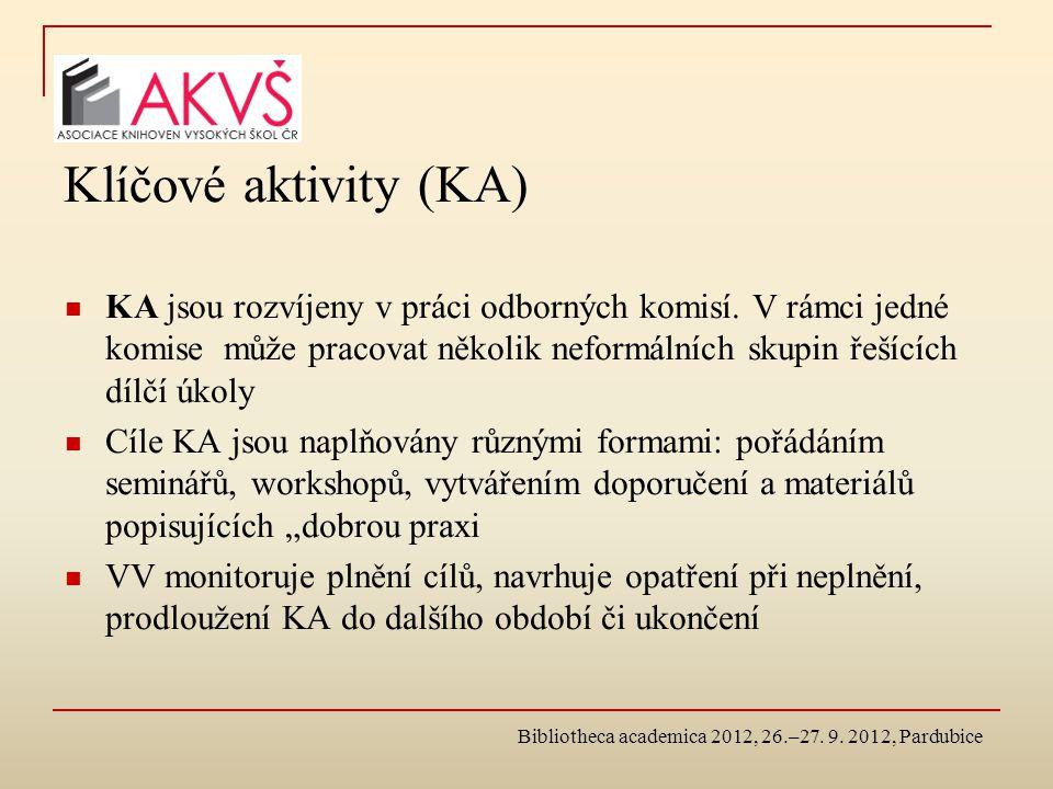 Klíčové aktivity (KA) KA jsou rozvíjeny v práci odborných komisí.