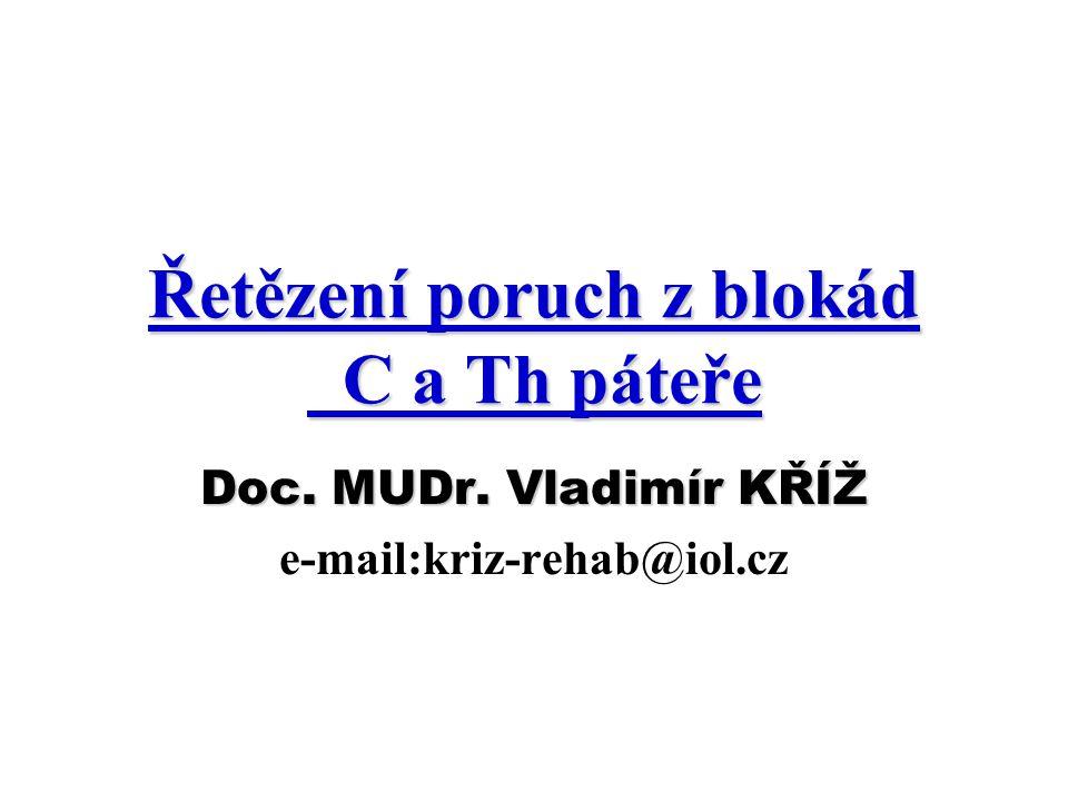 Řetězení poruch z blokád C a Th páteře Doc. MUDr. Vladimír KŘÍŽ e-mail:kriz-rehab@iol.cz