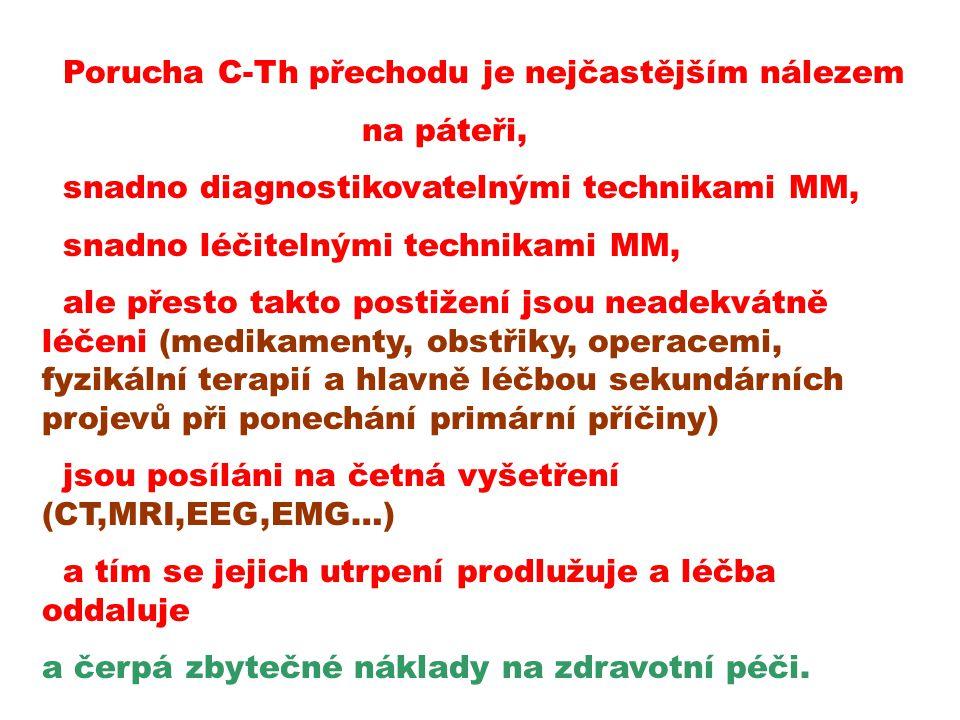 Porucha C-Th přechodu je nejčastějším nálezem na páteři, snadno diagnostikovatelnými technikami MM, snadno léčitelnými technikami MM, ale přesto takto postižení jsou neadekvátně léčeni (medikamenty, obstřiky, operacemi, fyzikální terapií a hlavně léčbou sekundárních projevů při ponechání primární příčiny) jsou posíláni na četná vyšetření (CT,MRI,EEG,EMG…) a tím se jejich utrpení prodlužuje a léčba oddaluje a čerpá zbytečné náklady na zdravotní péči.