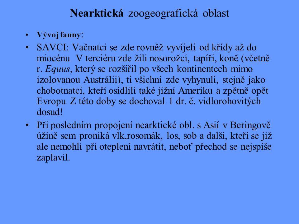 Nearktická zoogeografická oblast VZTAHY K OSTATNÍM OBLASTEM : s AVCI : Podíl společných č.