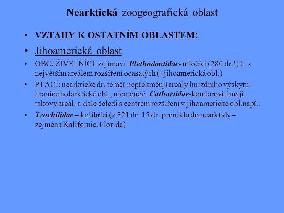 Nearktická zoogeografická oblast Limnický biocyklus : 5 endemických čeledí např.