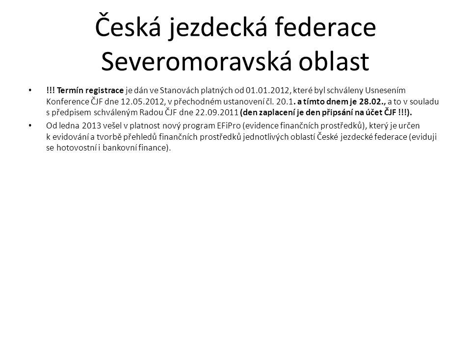 Česká jezdecká federace Severomoravská oblast !!! Termín registrace je dán ve Stanovách platných od 01.01.2012, které byl schváleny Usnesením Konferen
