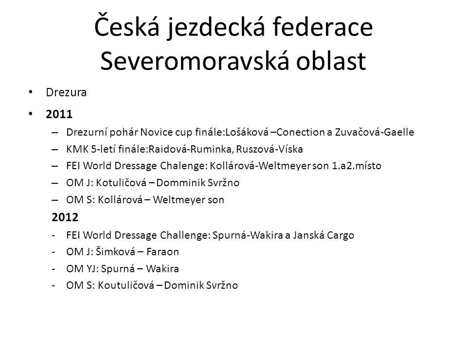 Česká jezdecká federace Severomoravská oblast Drezura 2011 – Drezurní pohár Novice cup finále:Lošáková –Conection a Zuvačová-Gaelle – KMK 5-letí finále:Raidová-Ruminka, Ruszová-Víska – FEI World Dressage Chalenge: Kollárová-Weltmeyer son 1.a2.místo – OM J: Kotuličová – Domminik Svržno – OM S: Kollárová – Weltmeyer son 2012 -FEI World Dressage Challenge: Spurná-Wakira a Janská Cargo -OM J: Šimková – Faraon -OM YJ: Spurná – Wakira -OM S: Koutuličová – Dominik Svržno