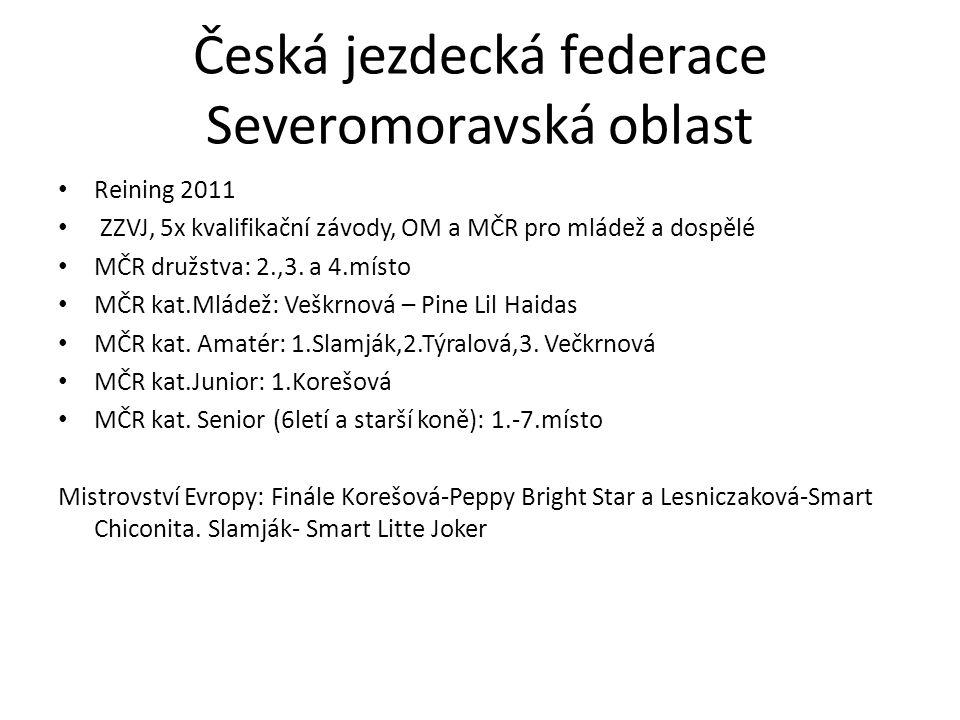 Česká jezdecká federace Severomoravská oblast Reining 2011 ZZVJ, 5x kvalifikační závody, OM a MČR pro mládež a dospělé MČR družstva: 2.,3. a 4.místo M
