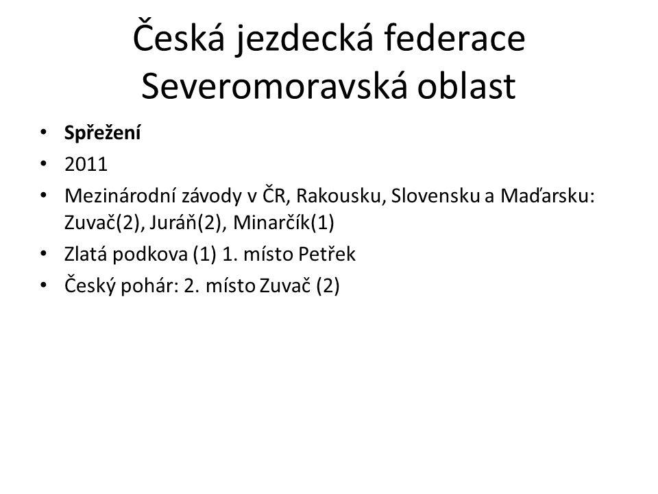 Česká jezdecká federace Severomoravská oblast Spřežení 2011 Mezinárodní závody v ČR, Rakousku, Slovensku a Maďarsku: Zuvač(2), Juráň(2), Minarčík(1) Zlatá podkova (1) 1.
