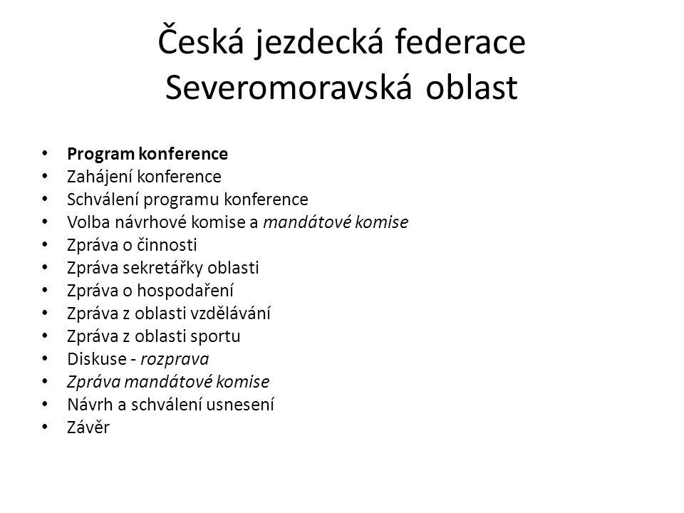 Česká jezdecká federace Severomoravská oblast Program konference Zahájení konference Schválení programu konference Volba návrhové komise a mandátové k