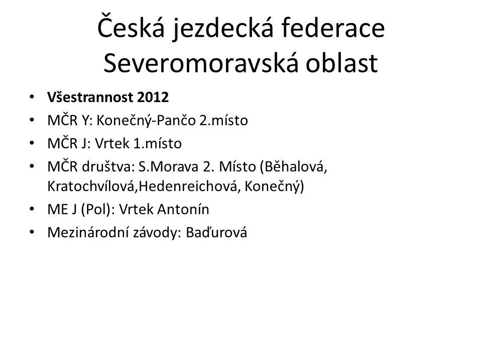 Česká jezdecká federace Severomoravská oblast Všestrannost 2012 MČR Y: Konečný-Pančo 2.místo MČR J: Vrtek 1.místo MČR društva: S.Morava 2. Místo (Běha