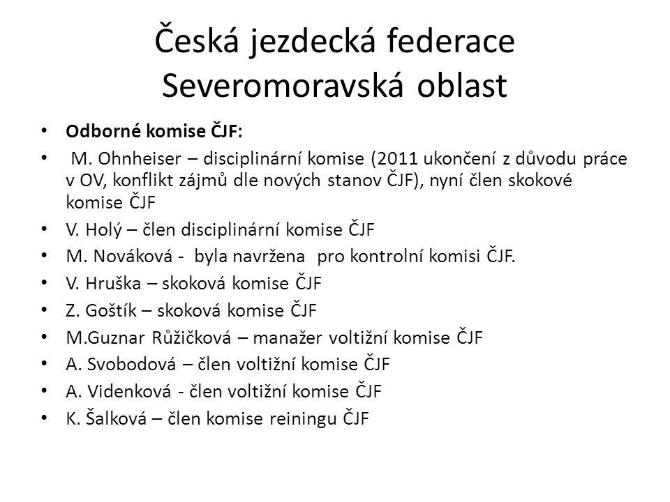 Česká jezdecká federace Severomoravská oblast Odborné komise ČJF: M. Ohnheiser – disciplinární komise (2011 ukončení z důvodu práce v OV, konflikt záj