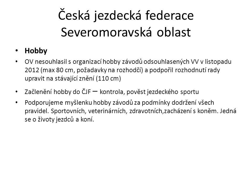 Česká jezdecká federace Severomoravská oblast Hobby OV nesouhlasil s organizací hobby závodů odsouhlasených VV v listopadu 2012 (max 80 cm, požadavky