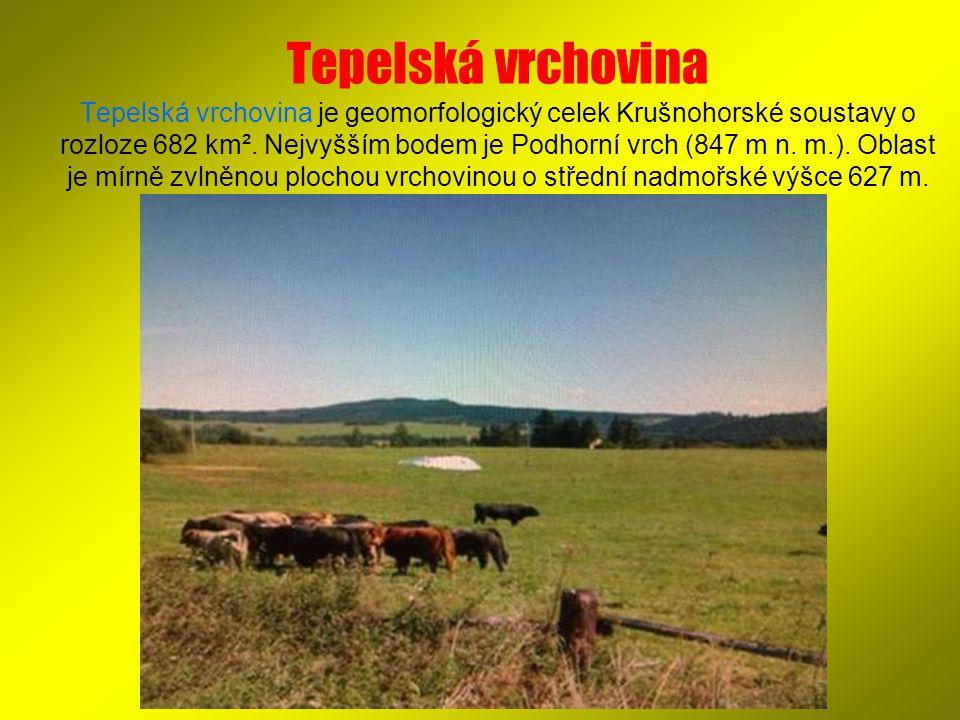 Tepelská vrchovina Tepelská vrchovina je geomorfologický celek Krušnohorské soustavy o rozloze 682 km². Nejvyšším bodem je Podhorní vrch (847 m n. m.)