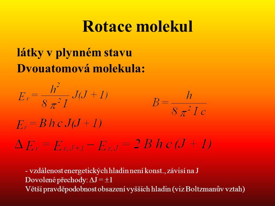 Rotace molekul látky v plynném stavu Dvouatomová molekula: - vzdálenost energetických hladin není konst., závisí na J Dovolené přechody:  J =  1 Větší pravděpodobnost obsazení vyšších hladin (viz Boltzmanův vztah)