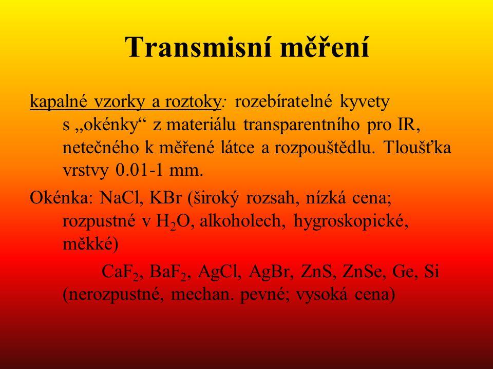 """Transmisní měření kapalné vzorky a roztoky: rozebíratelné kyvety s """"okénky z materiálu transparentního pro IR, netečného k měřené látce a rozpouštědlu."""