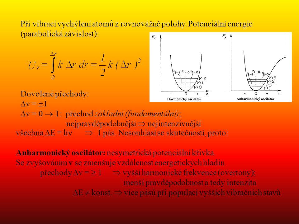 Dovolené přechody:  v =  1  v = 0  1: přechod základní (fundamentální); nejpravděpodobnější  nejintenzivnější Při vibraci vychýlení atomů z rovnovážné polohy.