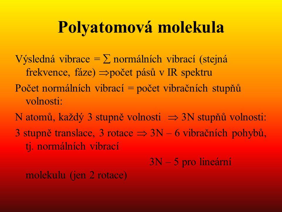 Polyatomová molekula Výsledná vibrace =  normálních vibrací (stejná frekvence, fáze)  počet pásů v IR spektru Počet normálních vibrací = počet vibračních stupňů volnosti: N atomů, každý 3 stupně volnosti  3N stupňů volnosti: 3 stupně translace, 3 rotace  3N – 6 vibračních pohybů, tj.