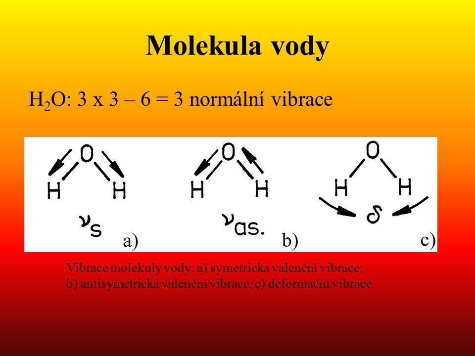 Molekula vody H 2 O: 3 x 3 – 6 = 3 normální vibrace Vibrace molekuly vody: a) symetrická valenční vibrace; b) antisymetrická valenční vibrace; c) deformační vibrace