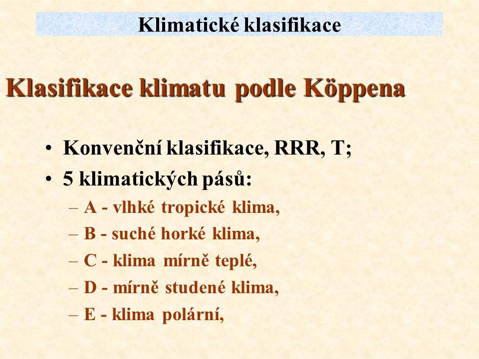 Klasifikace klimatu podle Köppena Konvenční klasifikace, RRR, T; 5 klimatických pásů: –A - vlhké tropické klima, –B - suché horké klima, –C - klima mí