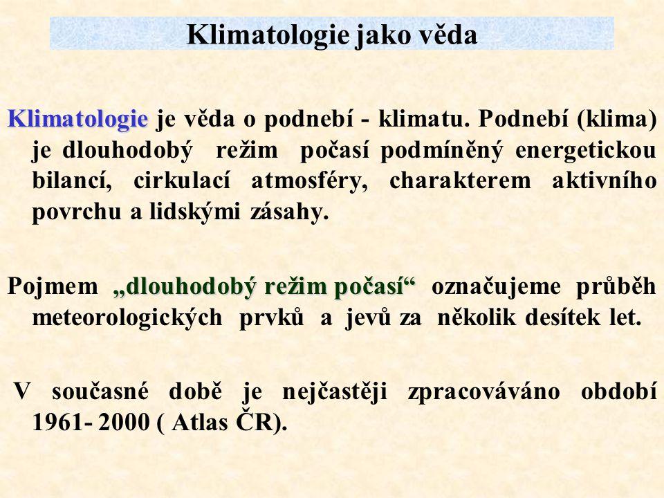 Klimatologie jako věda Klimatologie Klimatologie je věda o podnebí - klimatu. Podnebí (klima) je dlouhodobý režim počasí podmíněný energetickou bilanc