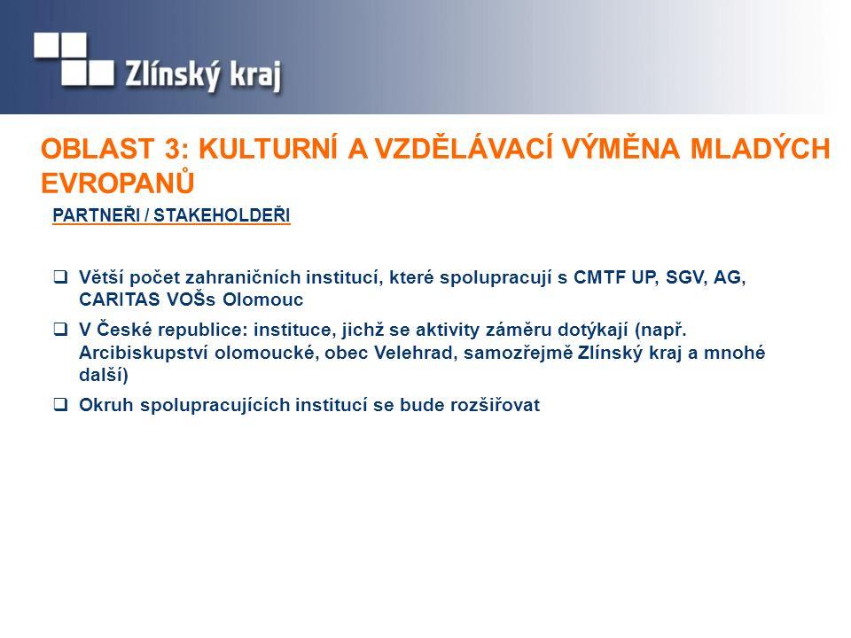 PARTNEŘI / STAKEHOLDEŘI  Větší počet zahraničních institucí, které spolupracují s CMTF UP, SGV, AG, CARITAS VOŠs Olomouc  V České republice: instituce, jichž se aktivity záměru dotýkají (např.