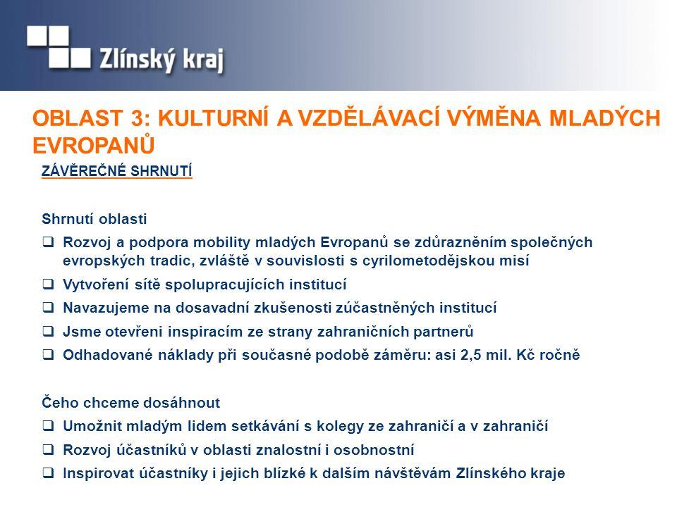 ZÁVĚREČNÉ SHRNUTÍ Shrnutí oblasti  Rozvoj a podpora mobility mladých Evropanů se zdůrazněním společných evropských tradic, zvláště v souvislosti s cyrilometodějskou misí  Vytvoření sítě spolupracujících institucí  Navazujeme na dosavadní zkušenosti zúčastněných institucí  Jsme otevřeni inspiracím ze strany zahraničních partnerů  Odhadované náklady při současné podobě záměru: asi 2,5 mil.