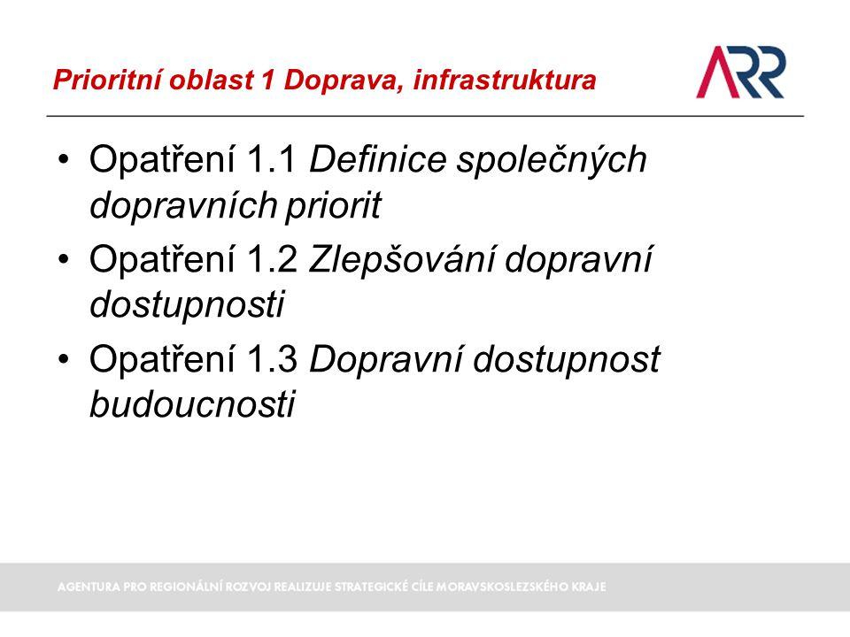 Prioritní oblast 1 Doprava, infrastruktura Opatření 1.1 Definice společných dopravních priorit Opatření 1.2 Zlepšování dopravní dostupnosti Opatření 1.3 Dopravní dostupnost budoucnosti