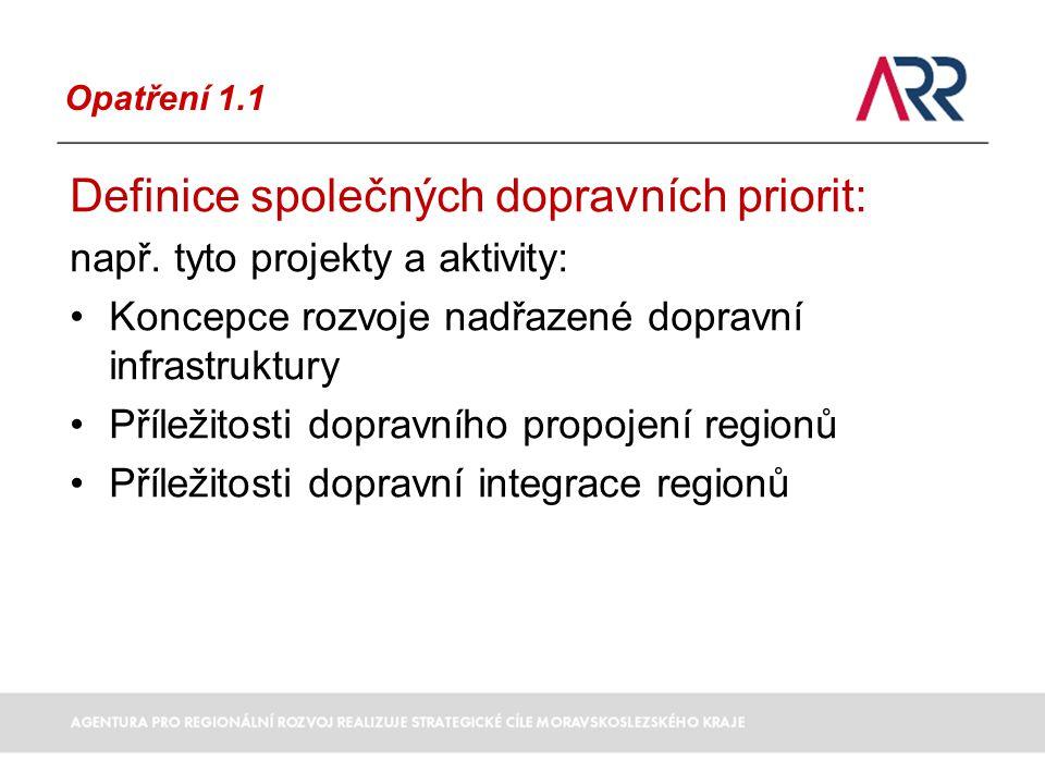 Opatření 1.1 Definice společných dopravních priorit: např.