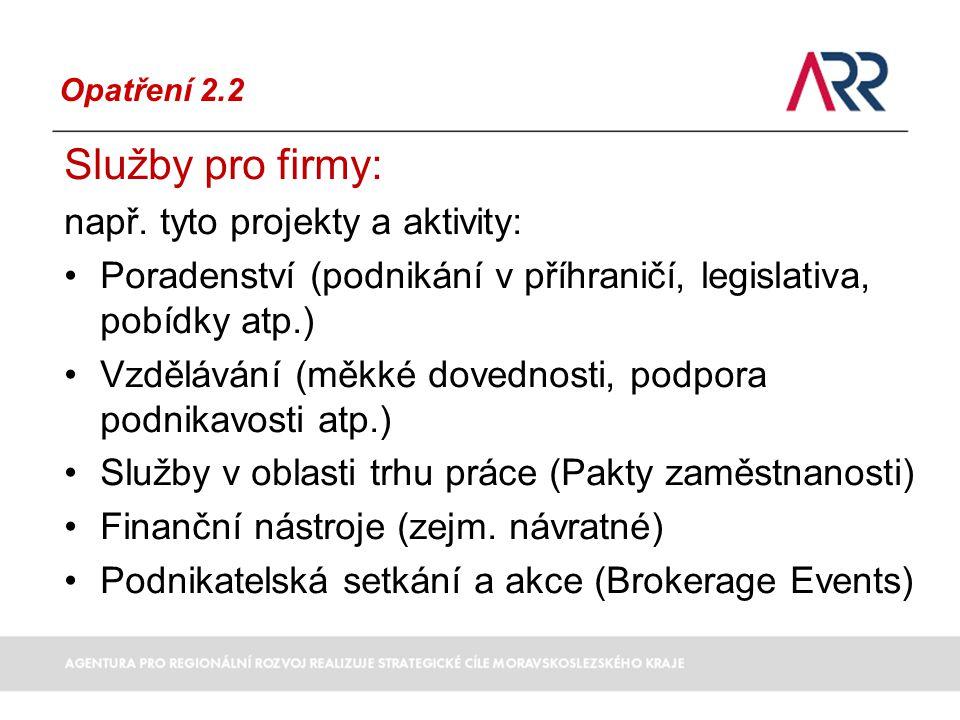 Opatření 2.2 Služby pro firmy: např.