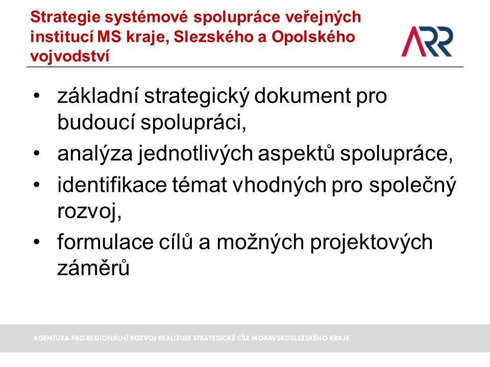 Strategie systémové spolupráce veřejných institucí MS kraje, Slezského a Opolského vojvodství základní strategický dokument pro budoucí spolupráci, analýza jednotlivých aspektů spolupráce, identifikace témat vhodných pro společný rozvoj, formulace cílů a možných projektových záměrů