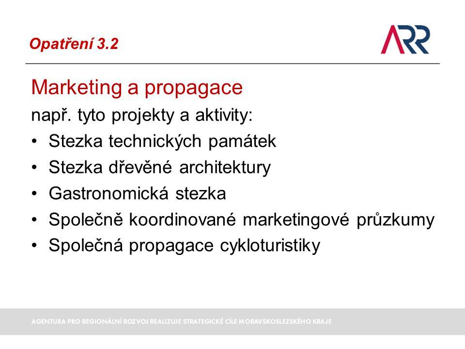 Opatření 3.2 Marketing a propagace např.
