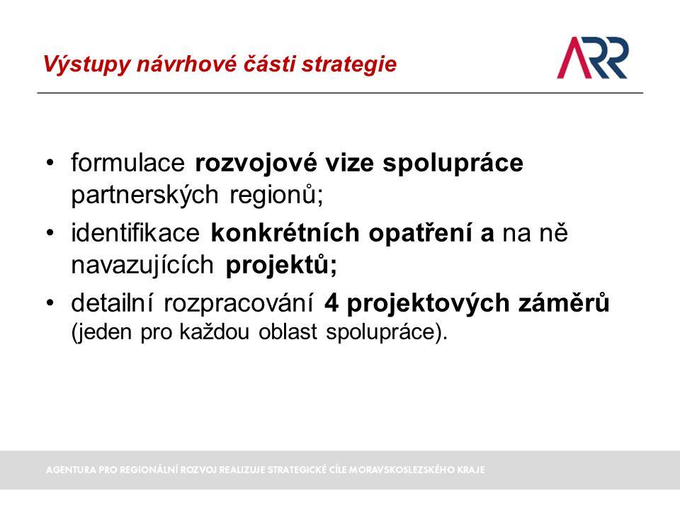 Výstupy návrhové části strategie formulace rozvojové vize spolupráce partnerských regionů; identifikace konkrétních opatření a na ně navazujících projektů; detailní rozpracování 4 projektových záměrů (jeden pro každou oblast spolupráce).