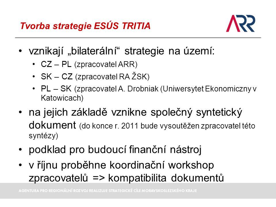 """Tvorba strategie ESÚS TRITIA vznikají """"bilaterální strategie na území: CZ – PL (zpracovatel ARR) SK – CZ (zpracovatel RA ŽSK) PL – SK (zpracovatel A."""