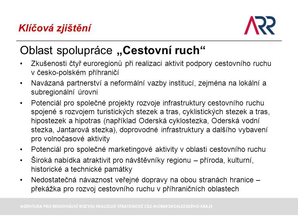 """Klíčová zjištění Oblast spolupráce """"Doprava, infrastruktura nedostatečné pokrytí území řešených regionů kvalitní příhraniční silniční infrastrukturou, včetně dálničního typu problém propojení Katowice-Ostrava nejsou řešeny vzájemné strategické vazby kolem hranic (např."""