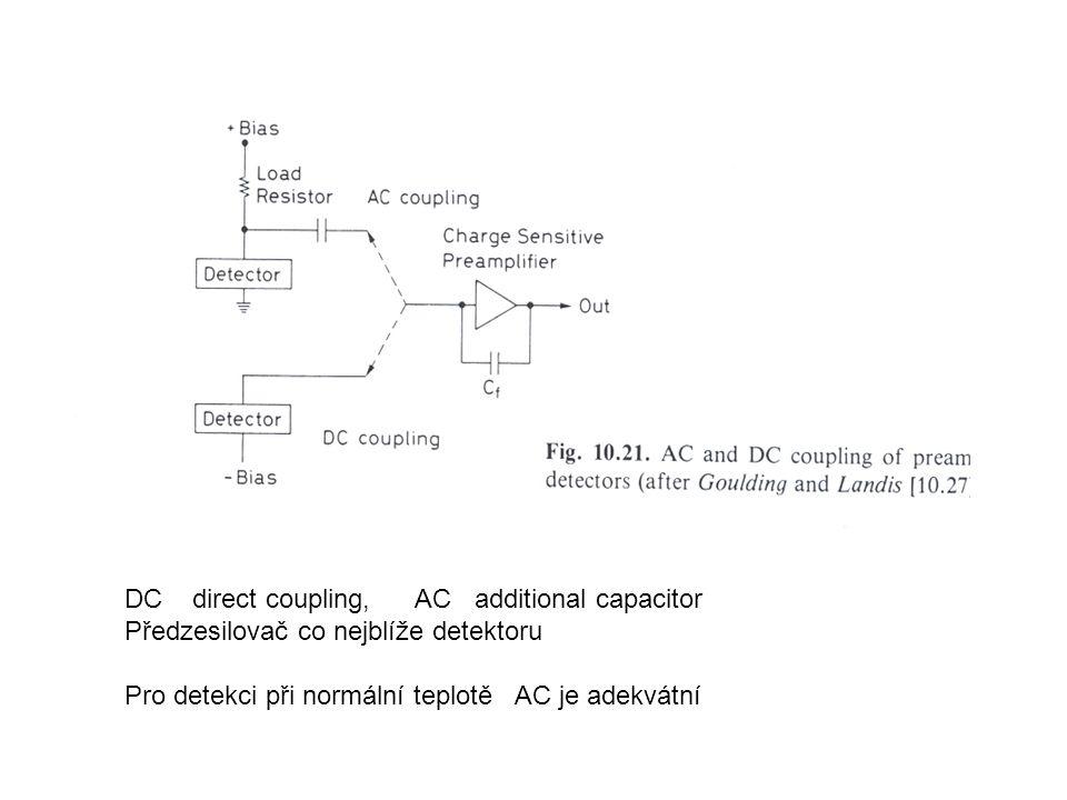 DC direct coupling, AC additional capacitor Předzesilovač co nejblíže detektoru Pro detekci při normální teplotě AC je adekvátní