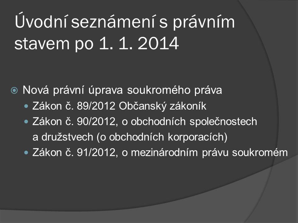 Úvodní seznámení s právním stavem po 1.1.