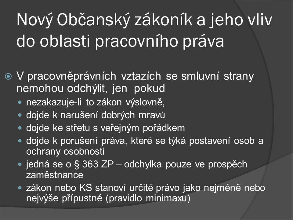 Nový Občanský zákoník a jeho vliv do oblasti pracovního práva  Dobré mravy nejsou definovány v právních předpisech Judikát NS ČR č.