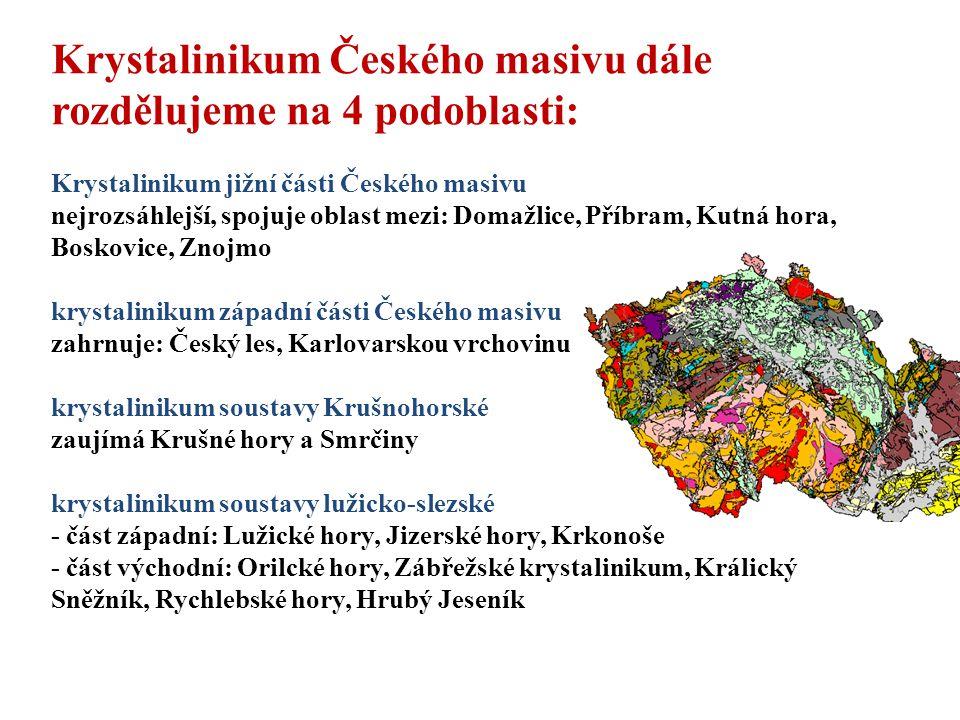 2) Oblast starých zvrásněných sedimentů - horniny: jsou to sedimenty a) břidličnaté (jílovité a drobové břidlice, b) masivní (pískovce, slepence, droby, buližníky, křemence) c) vápence - oblasti: Barrandien - prostor mezi Prahou a Plzní Devon - Krasové oblasti v Čechách a na Moravě Kulm - Drahamská vrchovina, Oderské vrchy, Nízký jesení k