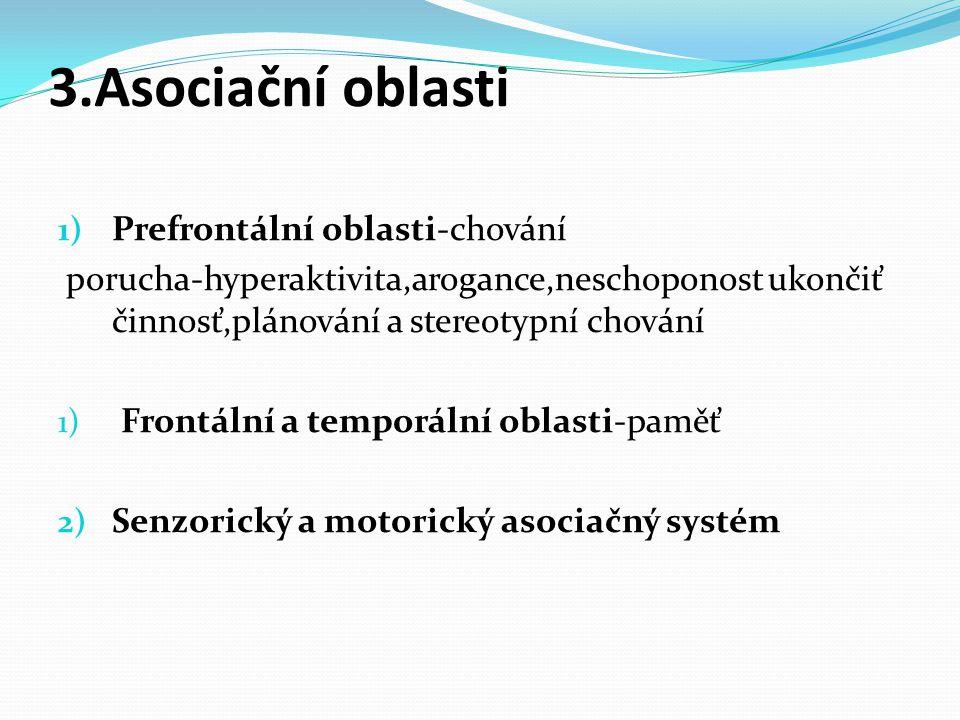 1) Prefrontální oblasti-chování porucha-hyperaktivita,arogance,neschoponost ukončiť činnosť,plánování a stereotypní chování 1) Frontální a temporální oblasti-paměť 2) Senzorický a motorický asociačný systém