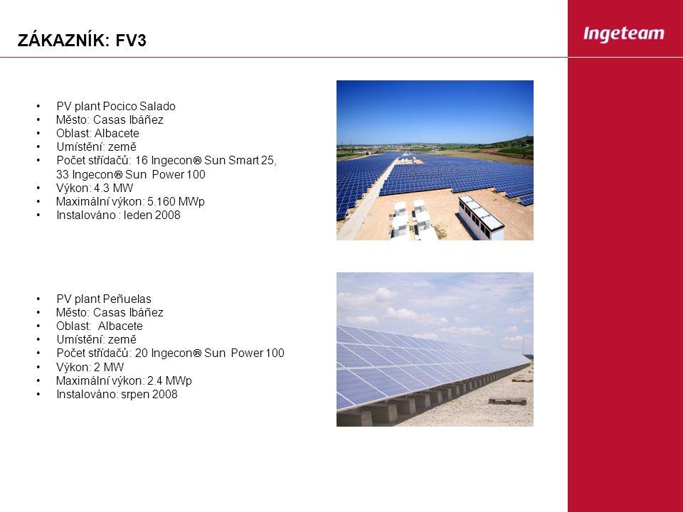 ZÁKAZNÍK: FV3 PV plant Pocico Salado Město: Casas Ibáñez Oblast: Albacete Umístění: země Počet střídačů: 16 Ingecon  Sun Smart 25, 33 Ingecon  Sun Power 100 Výkon: 4.3 MW Maximální výkon: 5.160 MWp Instalováno : leden 2008 PV plant Peñuelas Město: Casas Ibáñez Oblast: Albacete Umístění: země Počet střídačů: 20 Ingecon  Sun Power 100 Výkon: 2 MW Maximální výkon: 2.4 MWp Instalováno: srpen 2008