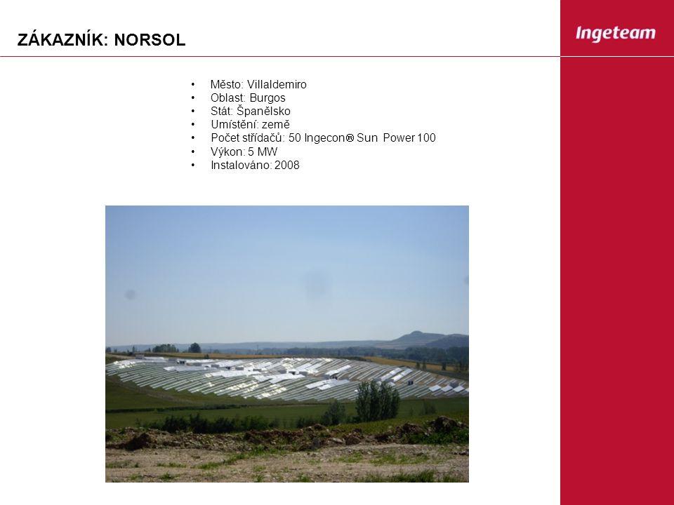 ZÁKAZNÍK: NORSOL Město: Villaldemiro Oblast: Burgos Stát: Španělsko Umístění: země Počet střídačů: 50 Ingecon  Sun Power 100 Výkon: 5 MW Instalováno: 2008