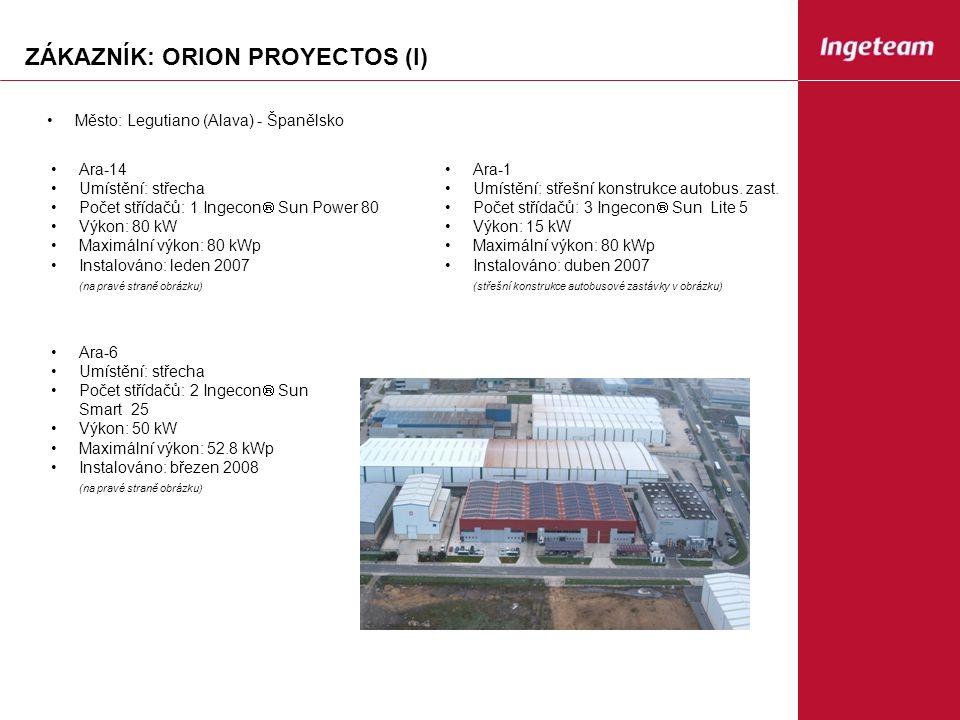 ZÁKAZNÍK: ORION PROYECTOS (I) Ara-14 Umístění: střecha Počet střídačů: 1 Ingecon  Sun Power 80 Výkon: 80 kW Maximální výkon: 80 kWp Instalováno: leden 2007 (na pravé straně obrázku) Ara-1 Umístění: střešní konstrukce autobus.