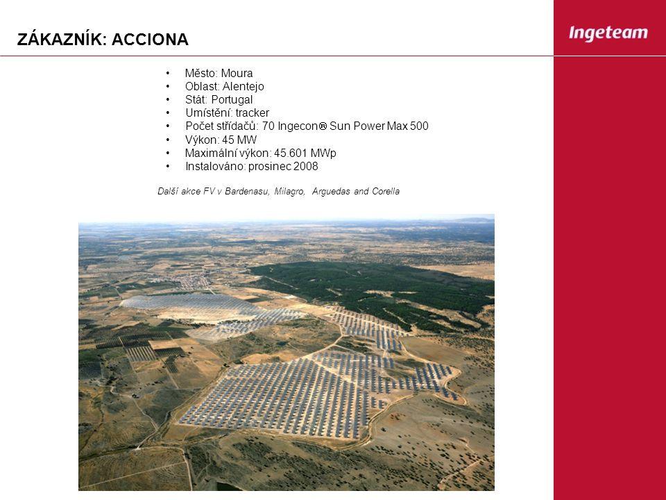 ZÁKAZNÍK: ACCIONA Město: Moura Oblast: Alentejo Stát: Portugal Umístění: tracker Počet střídačů: 70 Ingecon  Sun Power Max 500 Výkon: 45 MW Maximální výkon: 45.601 MWp Instalováno: prosinec 2008 Další akce FV v Bardenasu, Milagro, Arguedas and Corella