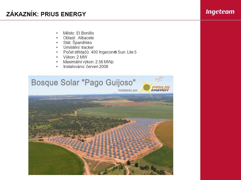 ZÁKAZNÍK: PRIUS ENERGY Město: El Bonillo Oblast: Albacete Stát: Španělsko Umístění: tracker Počet střídačů: 400 Ingecon  Sun Lite 5 Výkon: 2 MW Maximální výkon: 2.56 MWp Instalováno: červen 2008