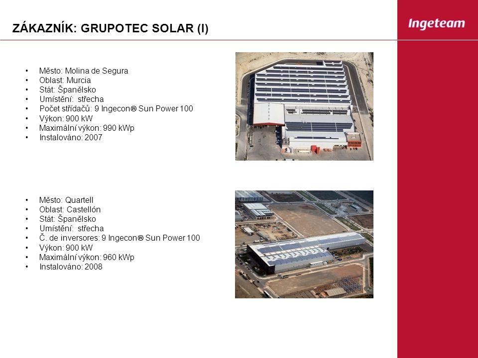 ZÁKAZNÍK: GRUPOTEC SOLAR (I) Město: Molina de Segura Oblast: Murcia Stát: Španělsko Umístění: střecha Počet střídačů: 9 Ingecon  Sun Power 100 Výkon: 900 kW Maximální výkon: 990 kWp Instalováno: 2007 Město: Quartell Oblast: Castellón Stát: Španělsko Umístění: střecha Č.