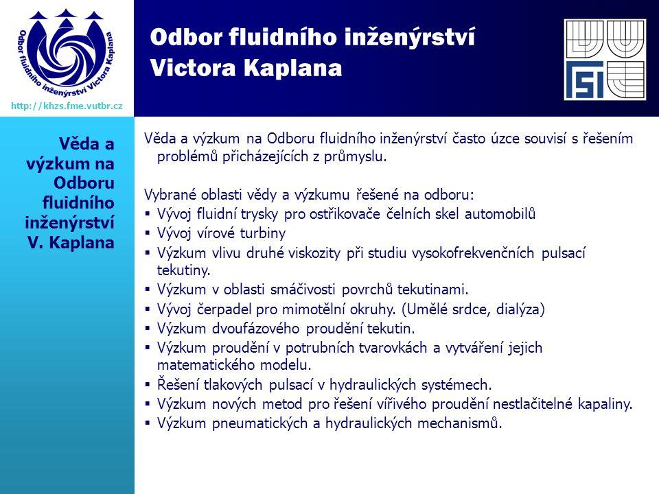 Věda a výzkum na Odboru fluidního inženýrství V.