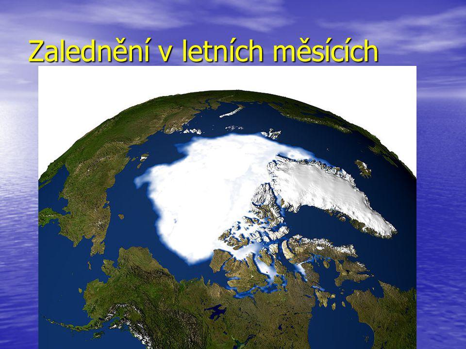 Polární oblasti jsou pokryty pevninským ledovcem, který vzniká ze sněhu, co zde dlouho leží Polární oblasti jsou pokryty pevninským ledovcem, který vzniká ze sněhu, co zde dlouho leží Pokrývá obrovské souvislé plochy, je mocný až několik km.