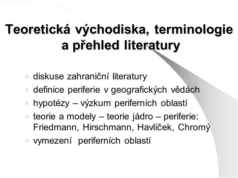 Vymezení periferních oblastí Obecný cíl: Nalezení oblastí, které nedosahují určité úrovně funkčně-prostorových a sociálně- prostorových vztahů, přičemž různé aspekty (faktory), které perifernost určují, případně soubory těchto aspektů (ukazatele agregátní povahy), mohou předurčovat různé specifické druhy perifernosti.