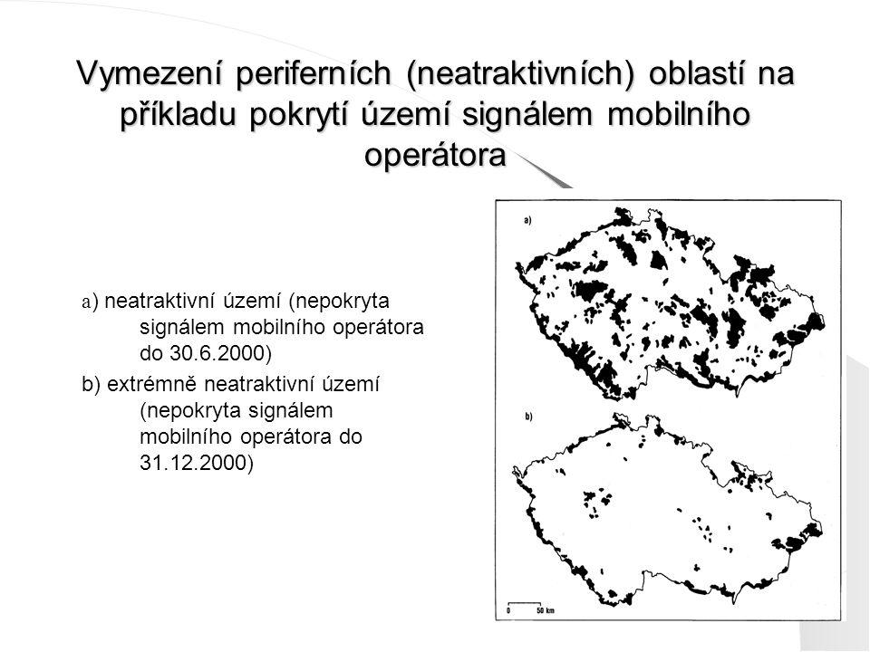 Vymezení periferních (neatraktivních) oblastí na příkladu pokrytí území signálem mobilního operátora a ) neatraktivní území (nepokryta signálem mobiln