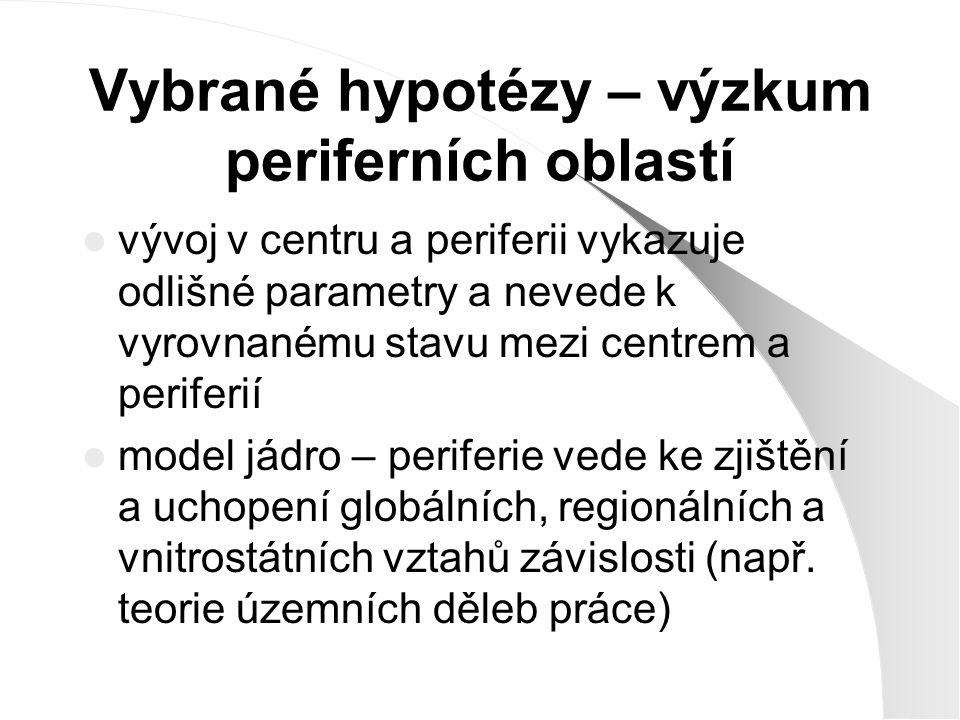 """Teorie – jádro periferie teorie centrálních míst (Christaller 1933) teorie v ekonomických vědách (Mirdal 1957, Hirschmann 1958) vnitrostátní periferie na příkladu periferizace Neapole (Wirth 1963) Friedmannův model (1996) nodální regiony (Korčák 1973, Hampl 1987) vývoj dichotomie jádro – periferie (Gottmann 1980) diferenciace míry centrality, """"pyramida moci (Schuler, Nef 1983) marginalita vs."""