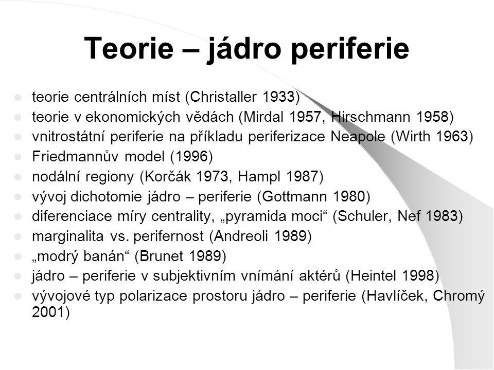 Christaller (1933) teorie centrálních míst - chybí přesná definice periferie - teorie vychází z definice jádra - pro perifernost určující vzdálenost - neuvažuje o vývojových principech a procesech podmiňujících asymetrii územního uspořádání