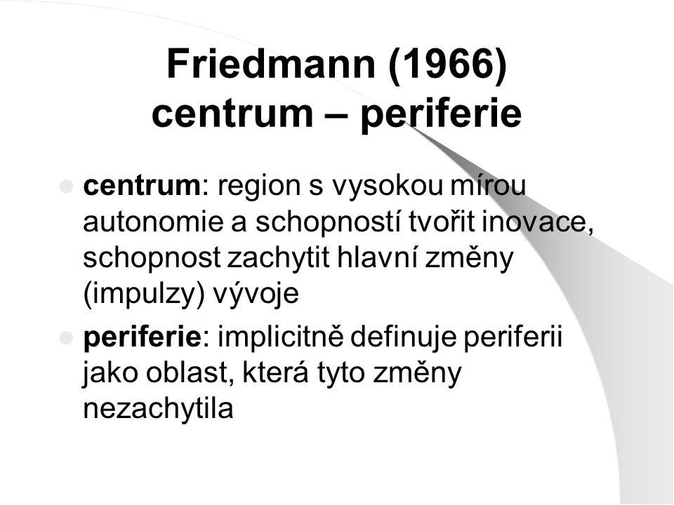 Friedmann (1966) kumulativní mechanizmy, pomocí kterých dochází k dalšímu posilování dominance jádra nad periferií: 1) efekt dominance 2) efekt vazeb 3) informační efekt 4) psychologický efekt 5) modernizační efekt 6) výrobní efekt